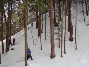 雪の斜面にて